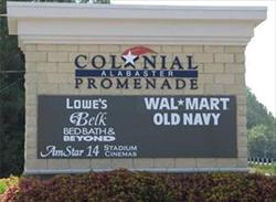 Alabaster Colonial Promenade sign with businesses that reside there listed